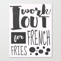 french fries Canvas Prints featuring French Fries by Emily Vickery