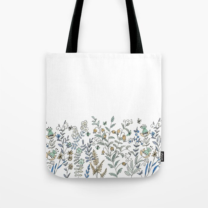 Watercolor pattern . The flowers of the field . 2 Tote Bag