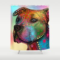 pit bull Shower Curtains featuring pit bull by mark ashkenazi