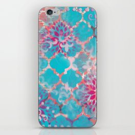 Mixed Media Layered Patterns - Turquoise, Pink & Coral iPhone Skin