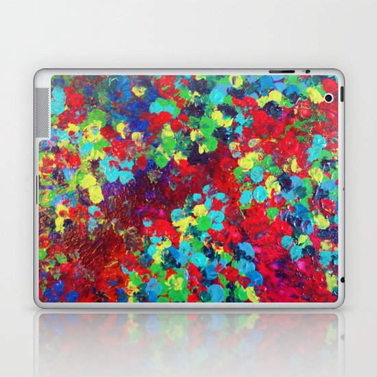 POND IN PIGMENT - Bright Bold Neon Abstract Acylic Floral Aquatic Painting Dots Pattern Trendy Gift  Laptop & iPad Skin