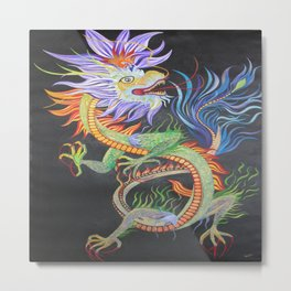 Bright and Vivid Chinese Fire Dragon Metal Print