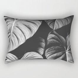 Monstera Black and White Rectangular Pillow