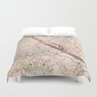vienna Duvet Covers featuring Vienna by MapMapMaps.Watercolors