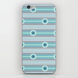 Concentric Circles and Stripes in Teals iPhone Skin