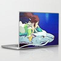 chihiro Laptop & iPad Skins featuring Spirited Away (Chihiro and Haku) by Tiffany Gage Graphics