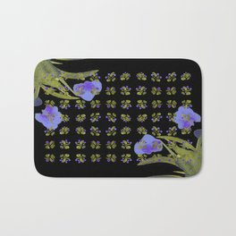 Atom Flowers #34 in purple and green Bath Mat