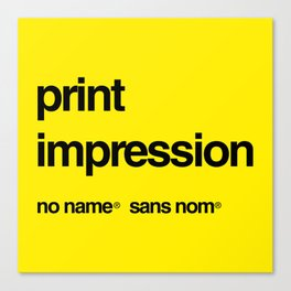 No Name/Sans Nom Canvas Print
