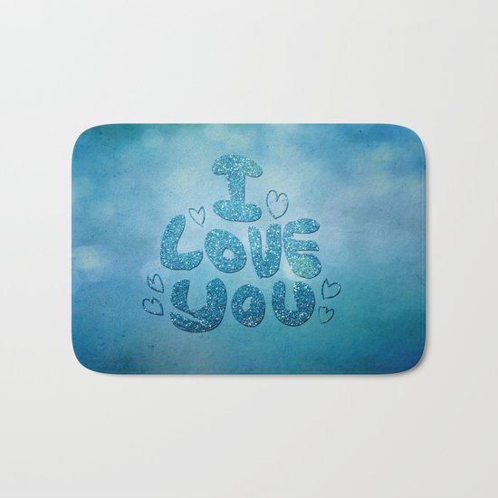 I love you - Sparkling Glitter Bath Mat