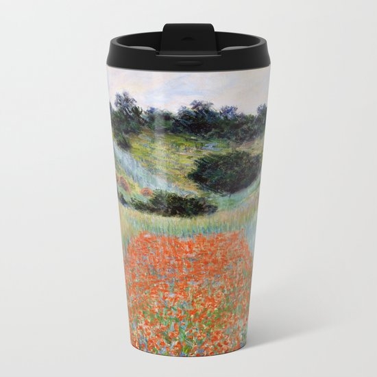 Poppy Field in a Hollow near Giverny by Claude Monet Metal Travel Mug