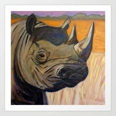 African Endangered Black Rhinoceros Art Print