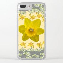 CREAMY SPRING DAFFODILS & FLOWERS GREY GARDEN Clear iPhone Case