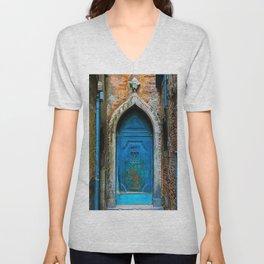 Beautiful Egyptian Blue European Doorway Photograph Unisex V-Neck