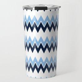 Navy + White | Bel Air Modern Flame Stitch Pattern Travel Mug