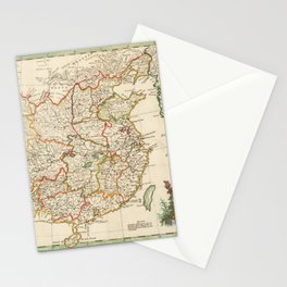 Vintage Map Print - 1770 Map of China and Korea Stationery Cards