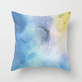 Navy blue teal lavender yellow watercolor brushstrokes Throw Pillow