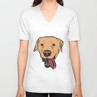 levi V-neck T-shirts featuring Levi the Yellow Lab by Rachel Barrett