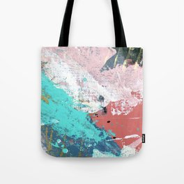 Daydreams: a colorful abstract mixed media piece in pinks, blues, greens, white, and gold Tote Bag