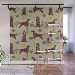 Irish Setter cactus southwest desert dog breed cute gift for dog lover pupper portrait pattern gifts Wall Mural