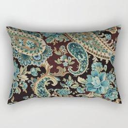 Brown Turquoise Paisley Rectangular Pillow