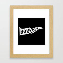 Boulder Colorado Pennant Flag B&W // University College Dorm Room Graphic Design Decor Black & White Framed Art Print