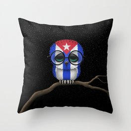Baby Owl with Glasses and Cuban Flag Throw Pillow