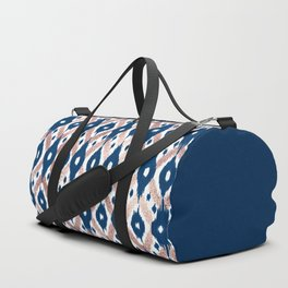 Artsy Modern Rose Gold Navy Blue Ikat Geo Duffle Bag