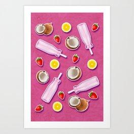 Summer fruit pink Art Print