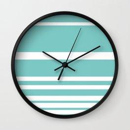 Scandi Pastel Mint Stripes Wall Clock