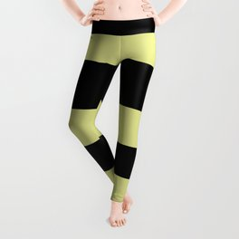 VA Lime Green - Lime Mousse - Bright Cactus Green - Celery Hand Drawn Fat Horizontal Lines on Black Leggings