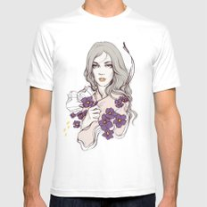 Birth Flower II - Violet MEDIUM Mens Fitted Tee White