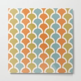 Classic Fan or Scallop Pattern 410 Orange Blue and Olive Green Metal Print