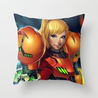 samus Throw Pillows featuring Samus by PooZ
