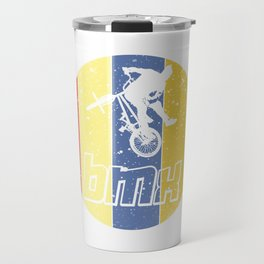 "Cool Biking Tee For Bikers With Unique Awesome Style ""BMX"" T-shirt Design Upside Down Tricks Travel Mug"