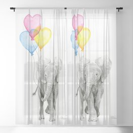 Elephant Watercolor with Balloons Rainbow Hearts Baby Animal Nursery Prints Sheer Curtain