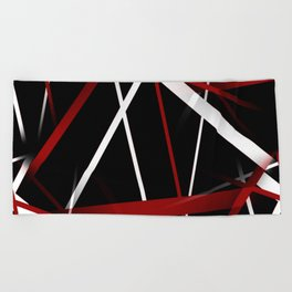 Seamless Red and White Stripes on A Black Background Beach Towel