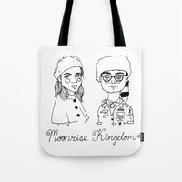 cactei Tote Bags featuring Moonrise Kingdom by ☿ cactei ☿