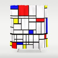 mondrian Shower Curtains featuring Mondrian inspired by Steve W Schwartz Art