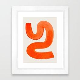 Mid Century Modern Abstract Minimalist Abstract Vintage Retro Orange Watercolor Brush Strokes Framed Art Print