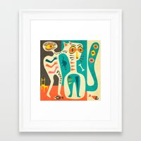 men Framed Art Prints featuring A Man who Loves his Cat by Jazzberry Blue