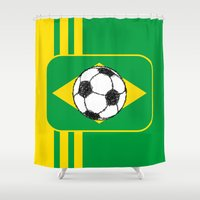brazil Shower Curtains featuring Brazil Flag Football Sketch by mailboxdisco