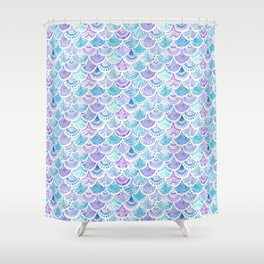 Mystical MERMAID DAYDREAMS Watercolor Scales Shower Curtain