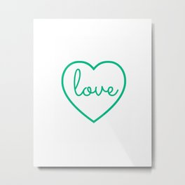 "Mint Green ""Love"" Print / Charming / Home Decor / Office Decor / Craft Space Decor Metal Print"