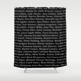 The Ladies of Literature Pattern on Black Shower Curtain
