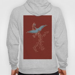 Phoenix or Dragon traditional Asian pattern with phoenix. Chinese Dragon and bird Hoody