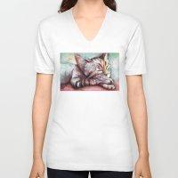 kitten V-neck T-shirts featuring Kitten by Olechka