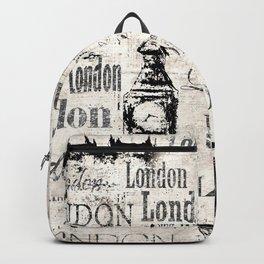 Vintage old newspaper paper London grunge collage sepia background Backpack