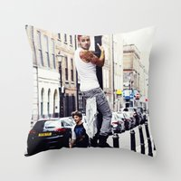 liam payne Throw Pillows featuring Liam Payne by Becca / But-Like-How