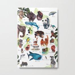 A-Z Endangered Species  Metal Print