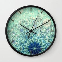 Mandala in Sea Green and Blue Wall Clock